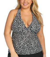 island escape trendy plus size animal kingdom h-back underwire tankini top, created for macy's women's swimsuit