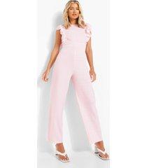 gingham culotte jumpsuit met mouw franjes, pink