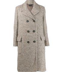 aspesi double-breasted midi coat - neutrals