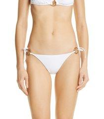 women's versace medusa charm bikini bottoms, size 4 - white