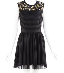 msgm black beaded sleeveless fit and flare dress black/multicolor/floral print sz: s