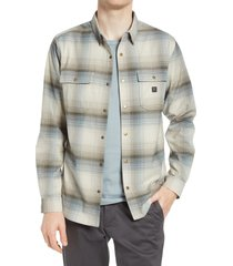 men's roark alpinist classic fit stripe performance flannel snap-up shirt, size small - white