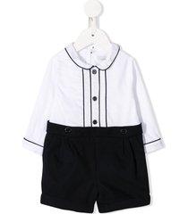 patachou button shirt playsuit - white