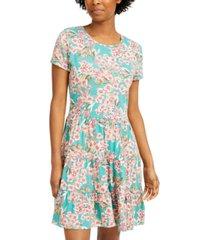 be bop juniors' printed tiered t-shirt dress
