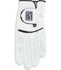 pga tour men's left hand leather golf glove - bright white - size l