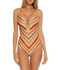 women's becca horizon plunge one-piece swimsuit, size small - orange