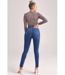 power stretch skinny jeans met superhoge taille, middenblauw