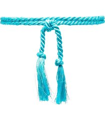 forte forte tassel-embellished rope belt - blue
