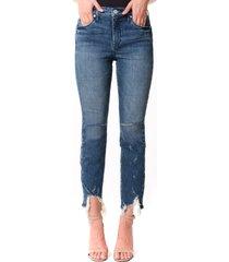 women's blanknyc the madison ripped fray hem high waist crop straight leg jeans, size 27 - blue
