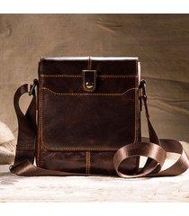 vintage vera pelle casual business shoulder crossbody borsa per uomo