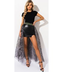 akira now you see me camo tulle overlay skirt