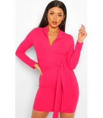 blazer jurk met ceintuur, hot pink