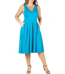 24seven comfort apparel women's plus size sleeveless midi fit and flare pocket dress
