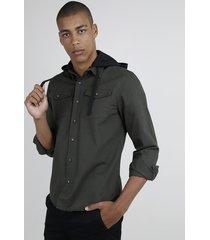 camisa de sarja masculina com bolsos manga longa com capuz verde militar