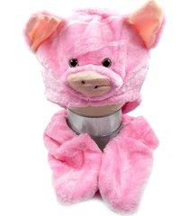 touca thata esportes pelúcia gorro cachecol animais bichinho cosplay fantasia infantil protetor de mão porco