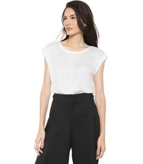 blusa banana republic ss satin front top off-white