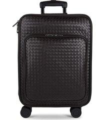 bottega veneta cabin 21-inch leather carry-on suitcase - espresso