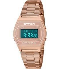 orologio da polso da uomo multifunzionale luminoso con quadrante bianco e orologio da polso impermeabile di tendenza