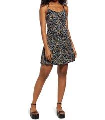 women's bp. print flared knit dress, size small - black