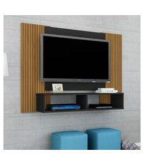 painel para tv até 42 pol bechara navi 2 nichos preto fosco ripado