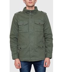 chaqueta ellus garment dye parches verde - calce regular