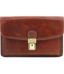 tuscany leather tl141444 arthur - esclusivo borsello a mano in pelle marrone