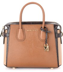 michael kors belted small shoulder bag in brown reptile print leather