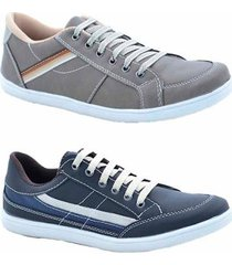kit 2 pares sapatênis numeração especial dexshoes masculino - masculino