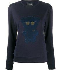 emporio armani sequined-bear sweatshirt - blue