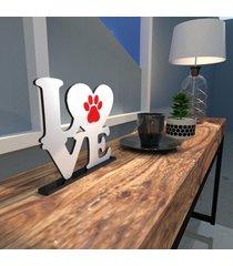 escultura de mesa adorno branco love pet pata vermelha único