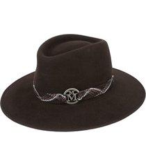 maison michel chapéu panama com padronagem - marrom