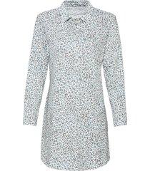 nachthemd van bio-katoen in pyjama-stijl, taupe-motief 44/46