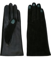 yohji yamamoto embossed crocodile-effect gloves - black