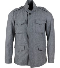 barba napoli mens field jacket in pure virgin wool, unlined with internal drawstring with button closure, pockets and concealed hood