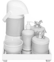 kit higiene espelho completo porcelanas, garrafa e capa cavalinho prata quarto beb㪠 - prata - dafiti