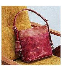 leather shoulder bag, 'elegant castellan' (mexico)