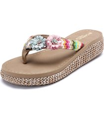 pantofole da vacanza con plateau e fiori