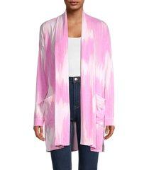 natori women's tie-dye cardigan - coral - size xs
