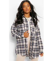 oversized geruite blouse, navy