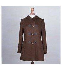 alpaca blend coat, 'peruvian warmth in chocolate' (peru)