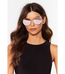 womens groovy times round mirrored sunglasses - gold