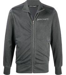 palm angels velvet logo print zipped jacket - grey