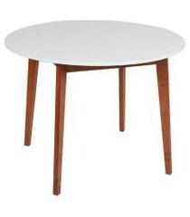 mesa de jantar redonda tóquio branca e mel 100 cm