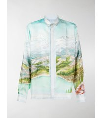 casablanca dalmatian a la montagne print silk shirt