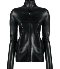 kwaidan editions faux-leather fitted zip-up top - black