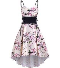 flower print lace up high low empire waist dress