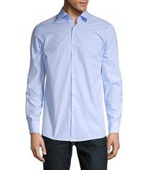 boss hugo boss men's mabel dotted button down shirt - blue - size 16 l