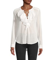 the kooples women's crinkled ruffle lace-up blouse - white - size s