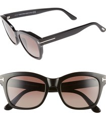 tom ford lauren 52mm sunglasses in shiny black/brown polarized at nordstrom