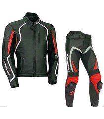 new style kawasaki leather suit jacket pants black red ce pads all sizes mens